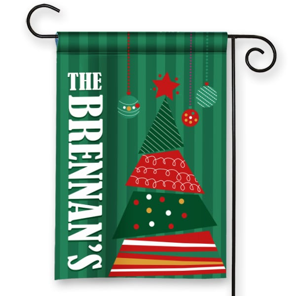 christmas garden flags. SGF-00005 Christmas Tree Personalized Garden Flag By Front Porch Flags