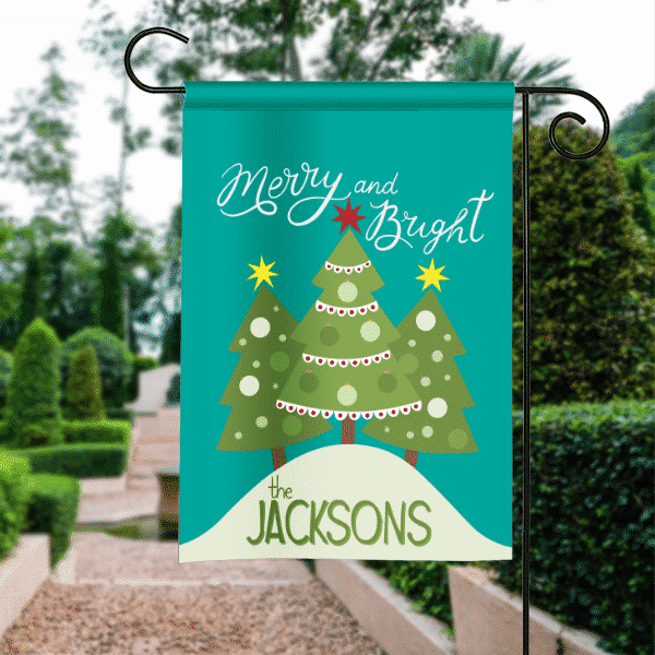 Merry And Bright Personalized Christmas Tree Garden Flag
