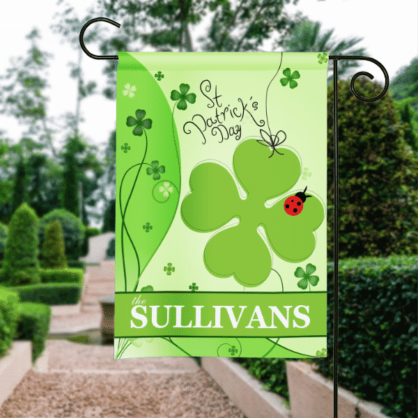 garden banners. SGF-00140 Lucky Ladybug Shamrock St. Patricks Day Garden Flags House Banners Yard Signs
