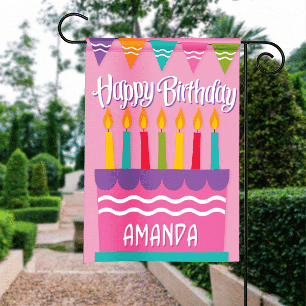 Girls Pink Birthday Cake Personalized Party Garden Flag