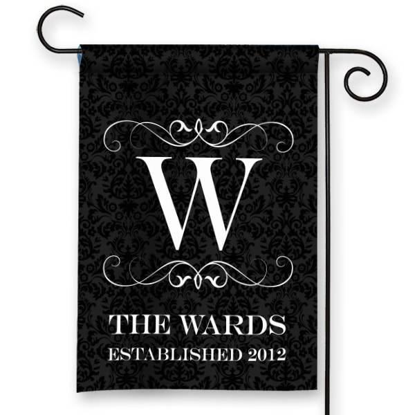 SGF 00059 Elegant Black Damask Personalized Monogram Garden Flag By Front  Porch Garden Flags