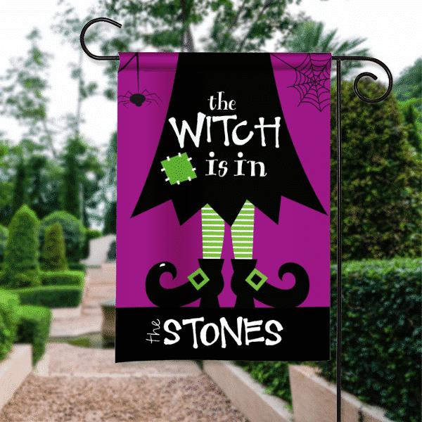 The Witch Is In Personalized Halloween Garden Flag Front