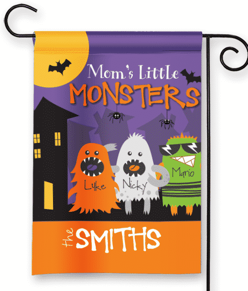 SGF 00413 Moms Little Monsters Personalized Halloween Kids Family Garden  Flag By Front Porch Garden
