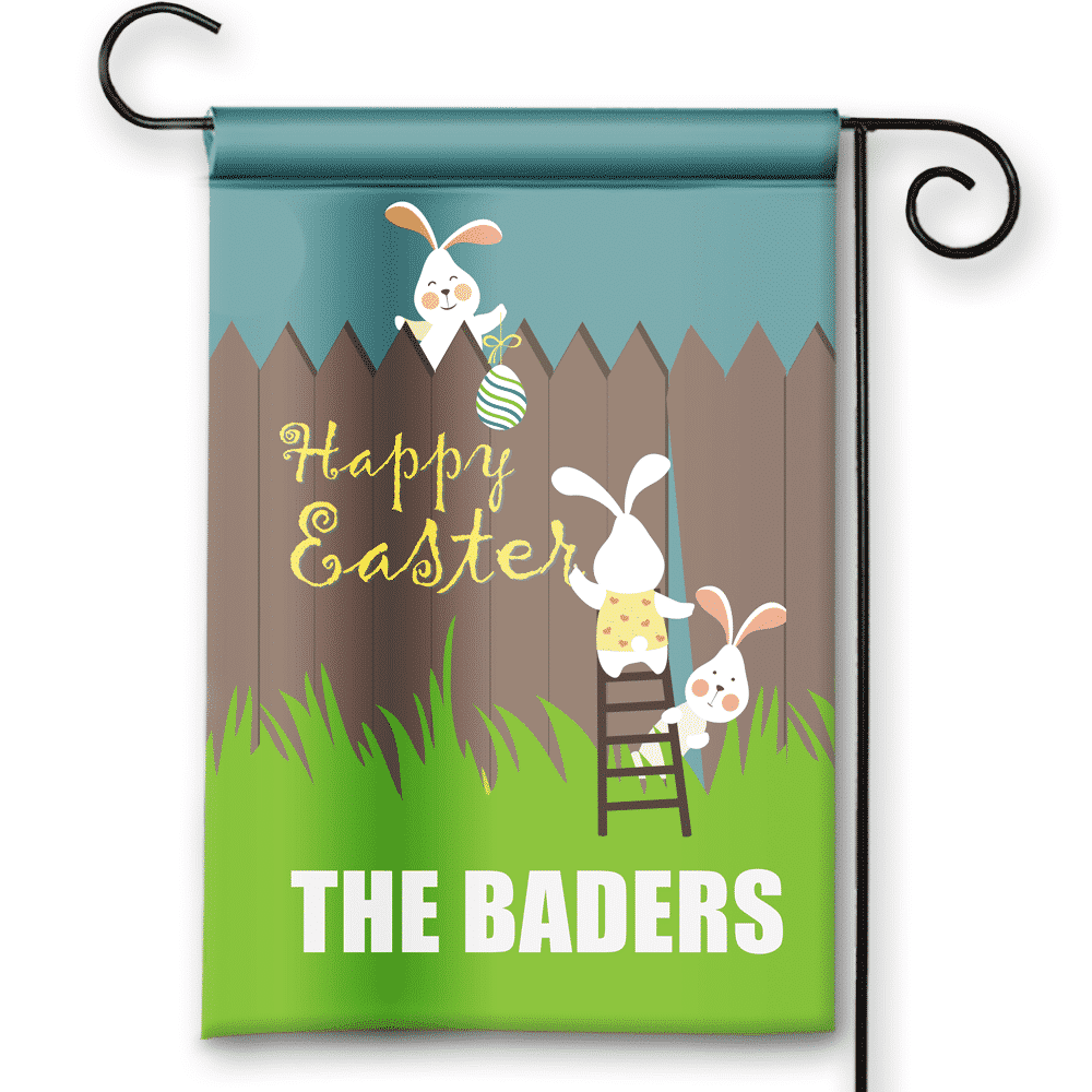 Happy Easter Busy Bunnies Personalized Holiday Garden/House Flag ...