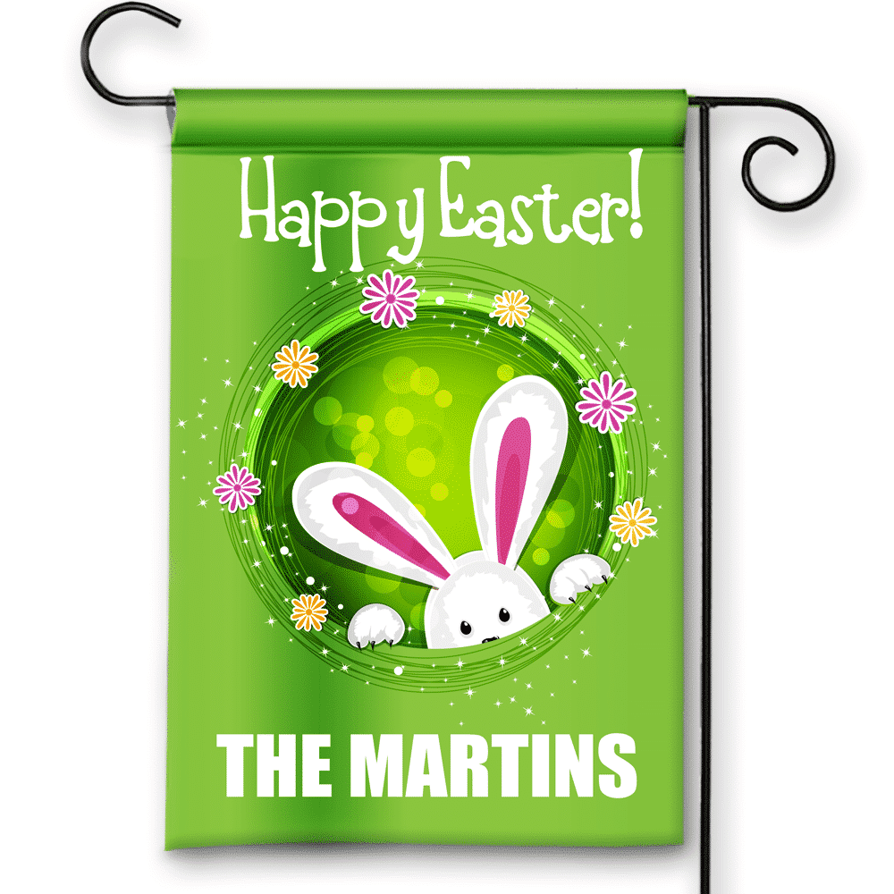 Happy Easter Peek a Boo Bunny Personalized Holiday Garden/House Flag ...