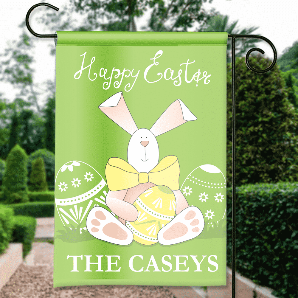 Happy Easter Bowtie Bunny Personalized Holiday Garden/House Flag ...