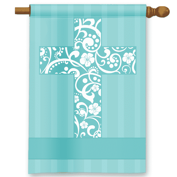 Blue Floral Crucifix Religious Personalized Holiday Garden