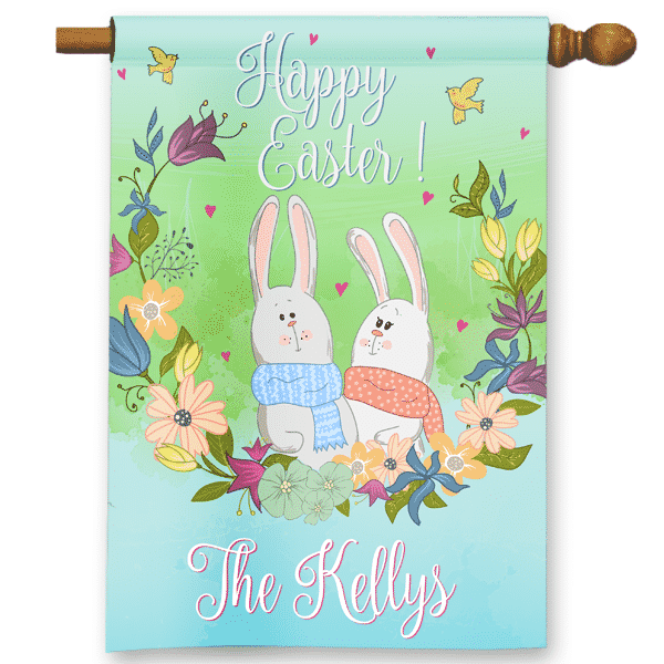 Sgf 00538 Personalized Watercolor Country Bunnies Happy Easter Garden House Flag By Front Porch