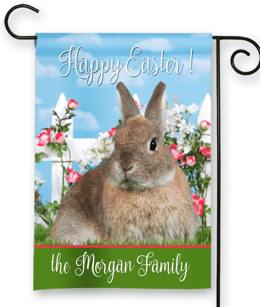 Sgf 00539 Personalized Bunny Rabbit Rose Garden House Flag By Front Porch Garden  Flags