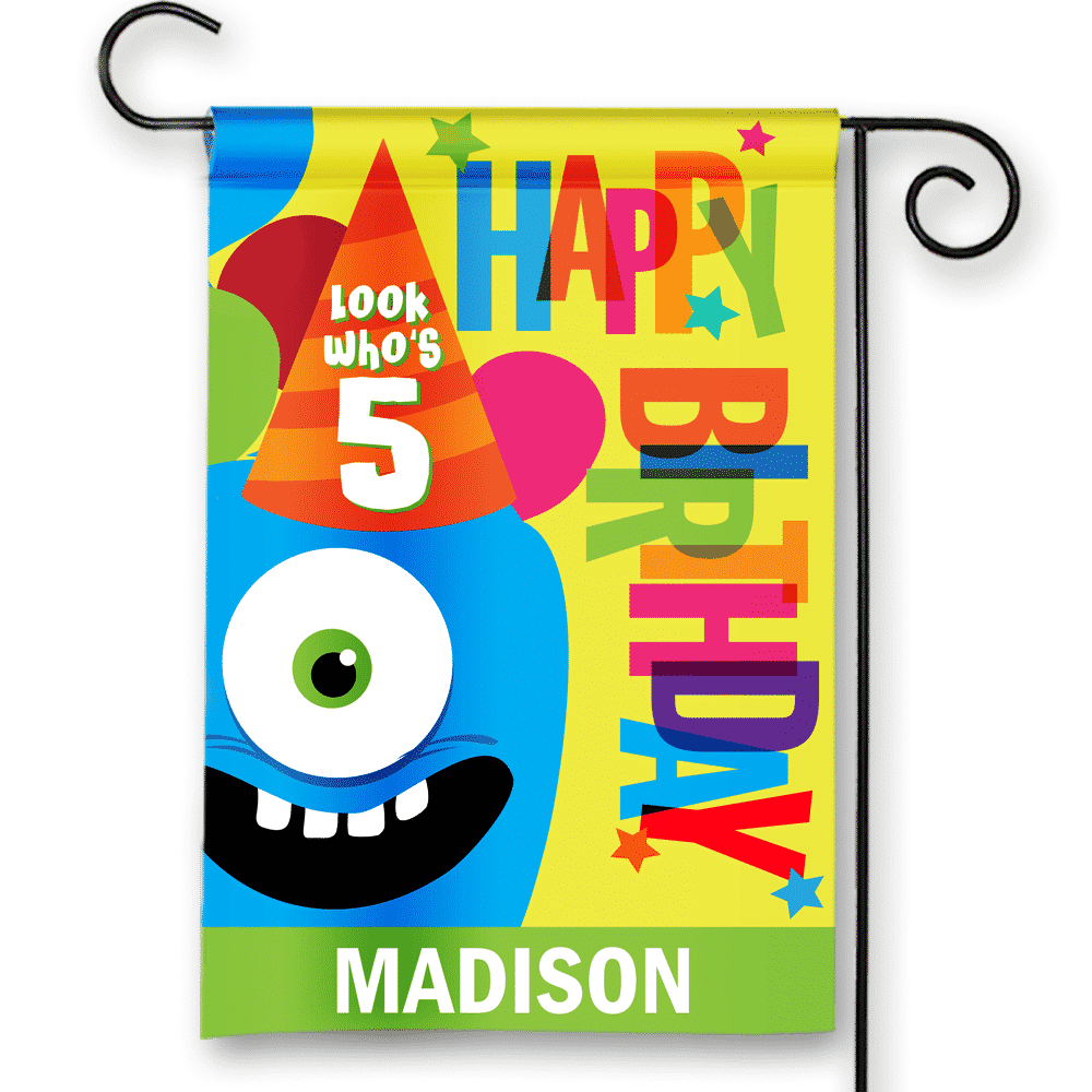 Sgf 00043 Personalized Kids 5th Fifth Birthday Party Flag Banner By Front Porch Garden Flags