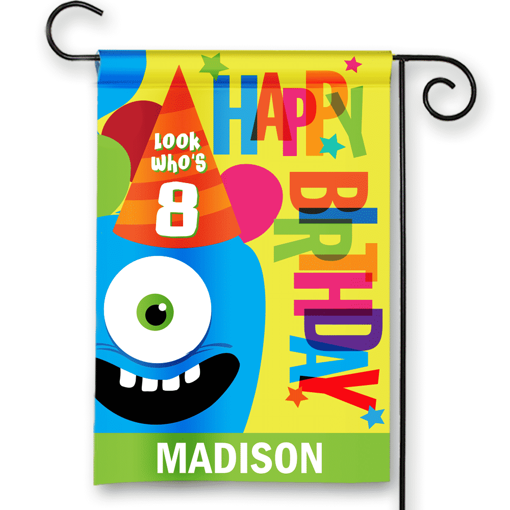 Sgf 00043 Personalized Kids 8th Eighth Birthday Party Flag Banner By Front Porch Garden Flags