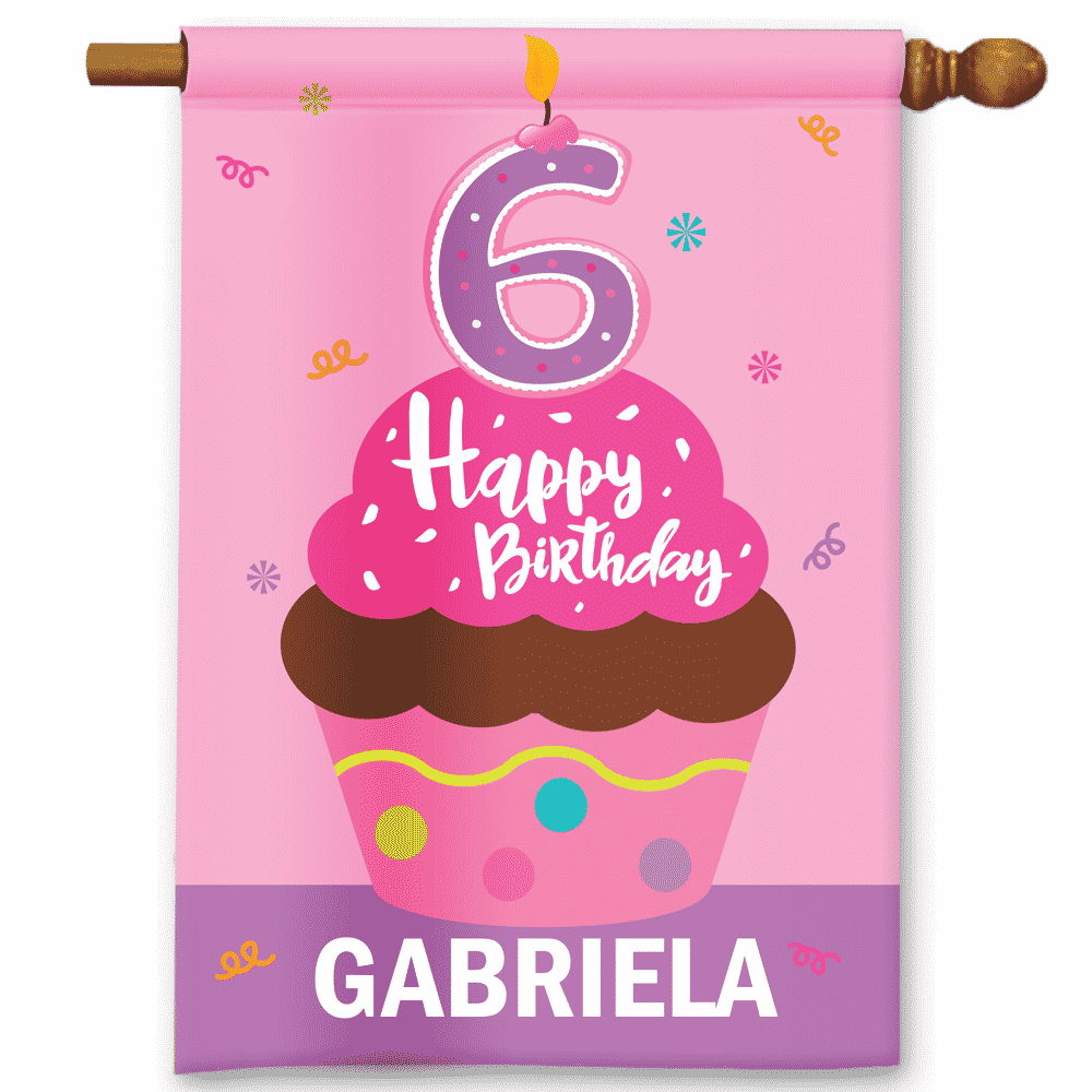 Sgf 00050 Personalized Girls Pink Cupcake 6th Sixth Birthday Happy Party Flag Banner By