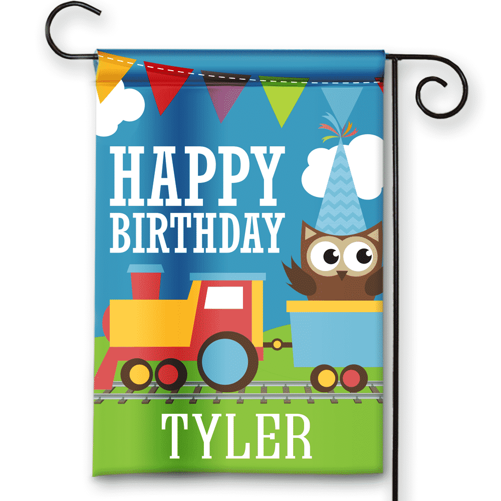 Sgf 00051 Personalized Boys Train Theme Blue Happy Birthday Party Flag Banner By Front Porch