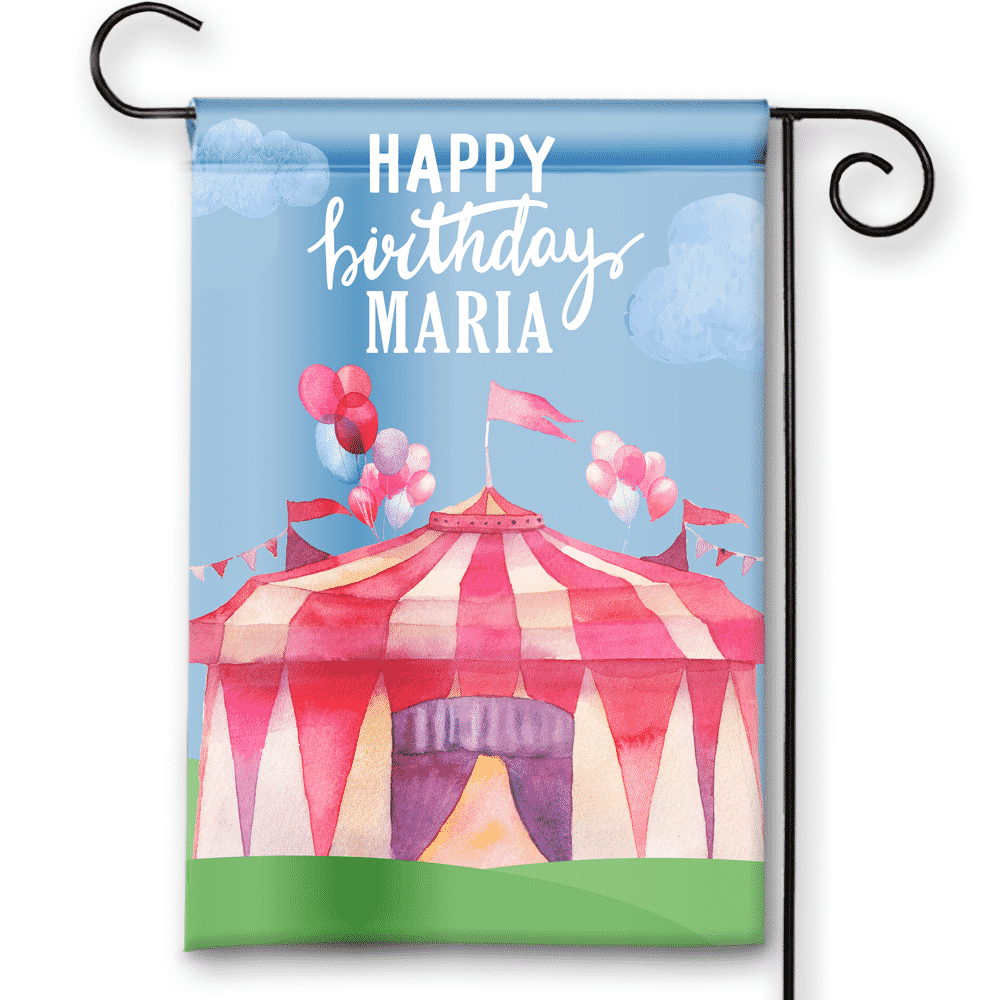 Sgf 00053 Personalized Girls Kids Pink Circus Tent Happy Birthday Party Flag Banner By Front