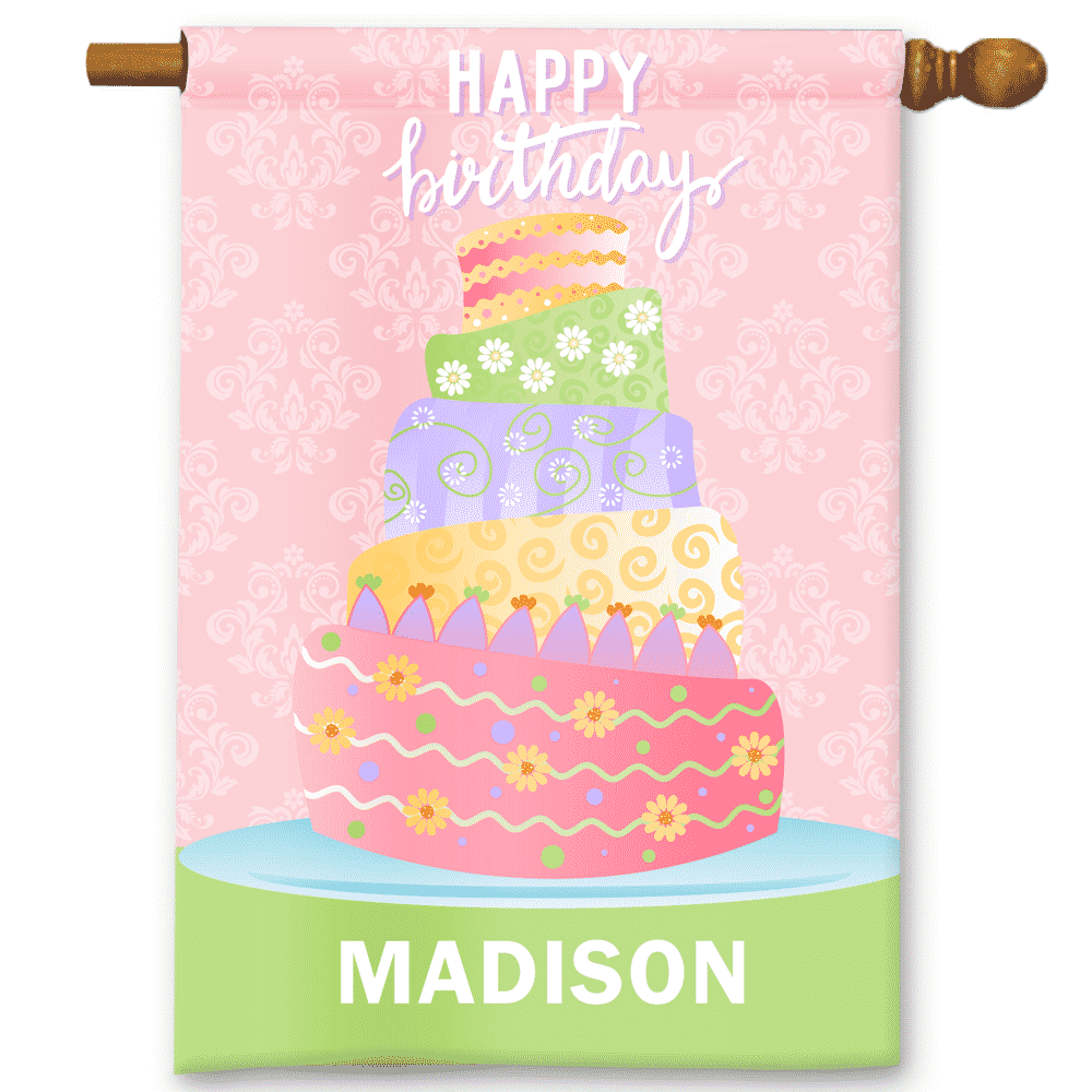 Pink Birthday Cake Happy Birthday Personalized Party Bannergarden