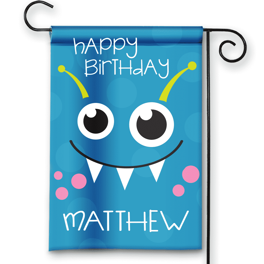 little monsters happy birthday personalized party banner garden flag
