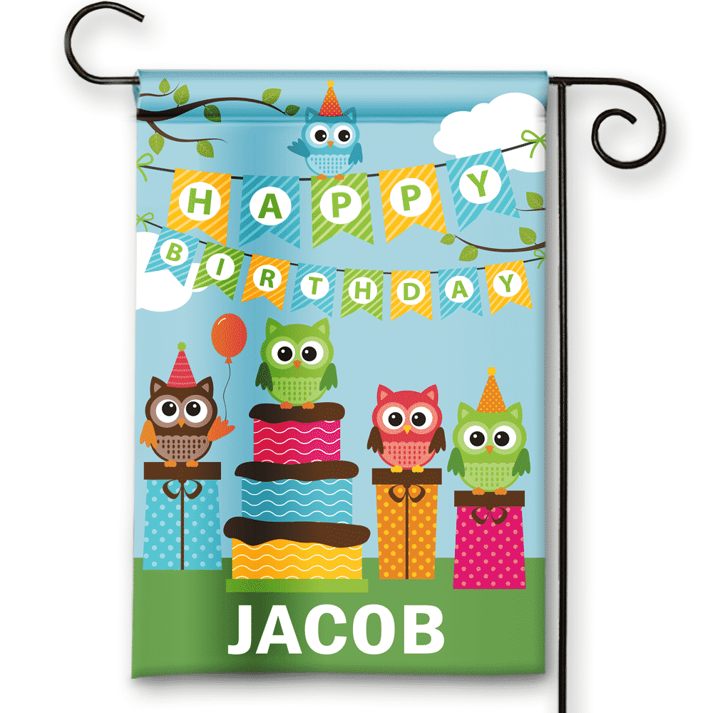Sgf 00071 Personalized Hooty Owls Theme Happy Birthday Party Flag Banner By Front Porch Garden