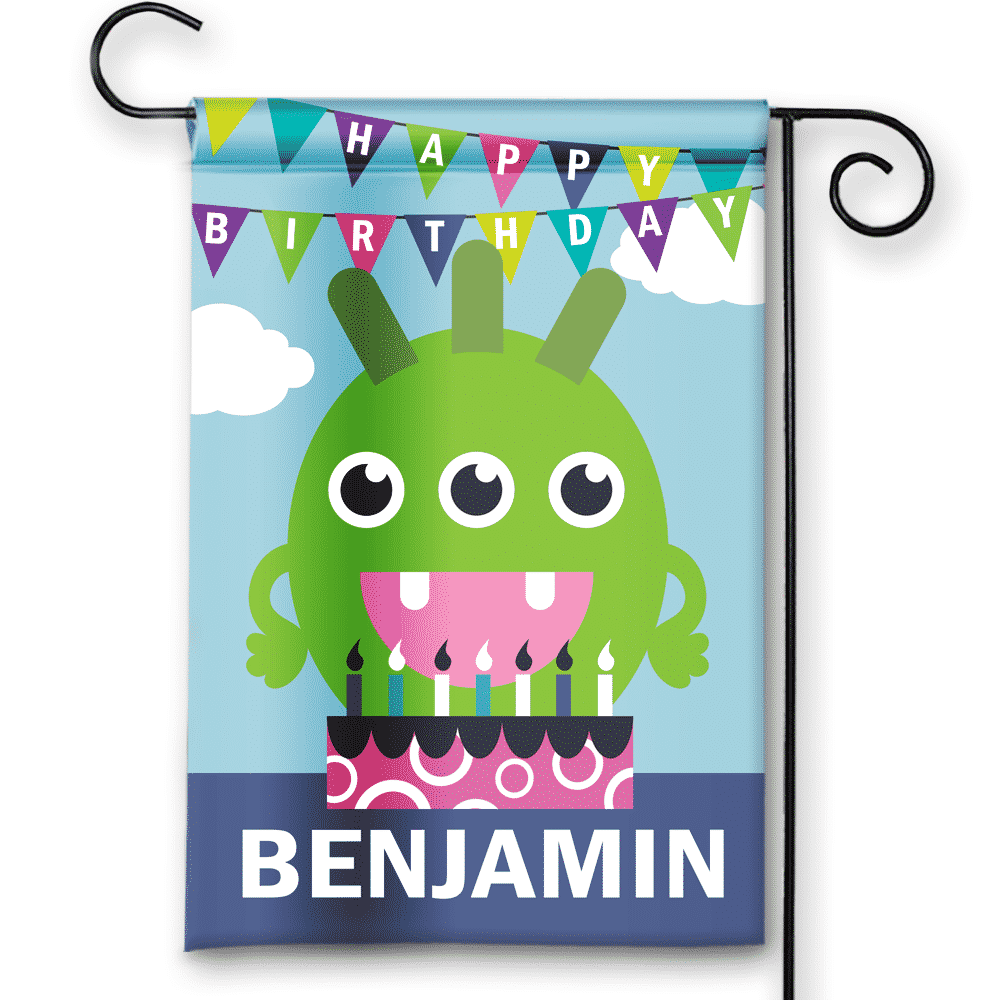 Sgf 00073 Personalized Boys Little Monsters Theme Blue Happy Birthday Party Flag Banner By Front