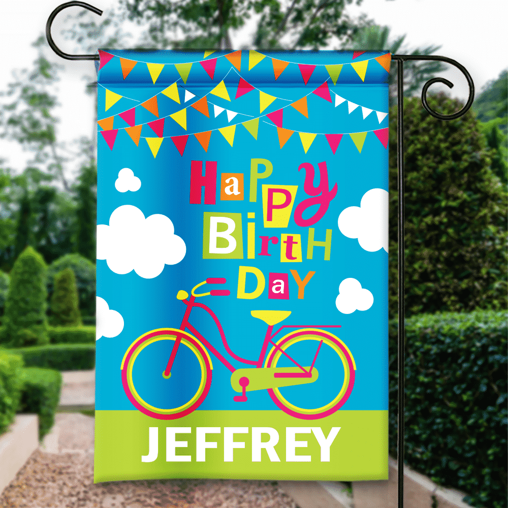 20 Ways To Spiff Up Your Backyard For Spring: Happy Birthday Bicycle Personalized Party Banner/Garden