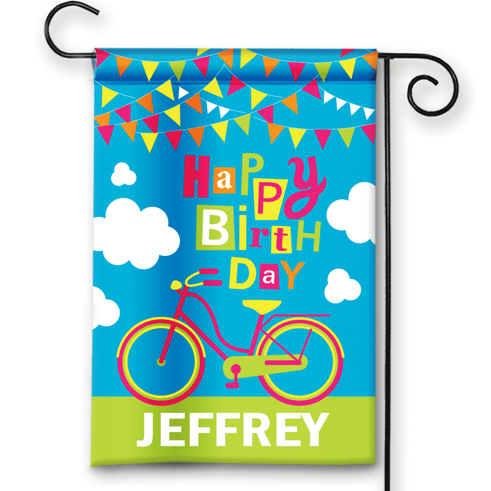 Happy Birthday Bicycle Personalized Party Banner Garden
