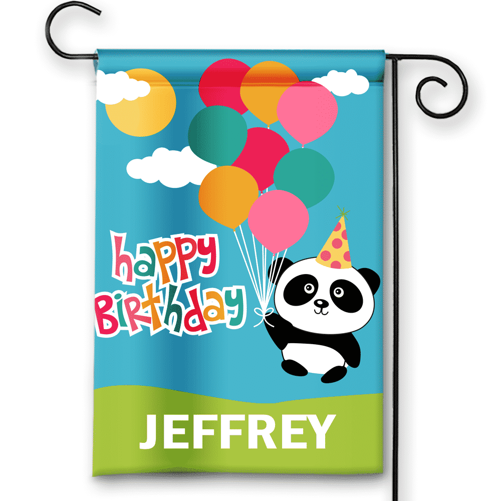 Sgf 00075 Personalized Baby Panda Blue Happy Birthday Party Flag Banner By Front Porch Garden