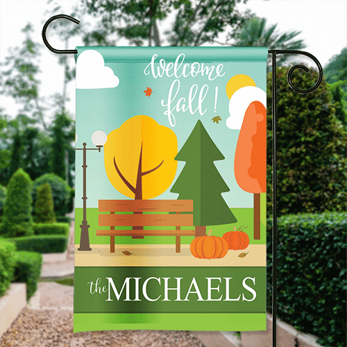 welcome fall autumn in the city park bench personalized fall
