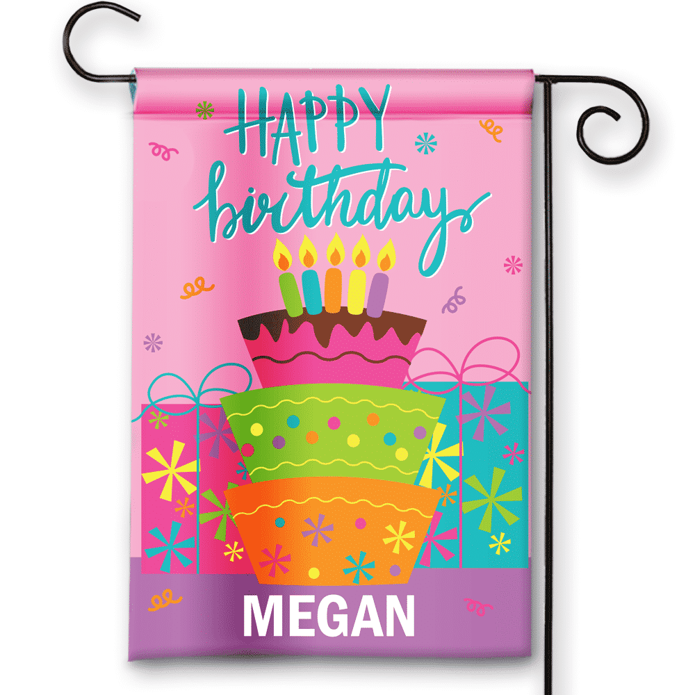 Sgf 00049 Personalized Girls Kids Pink Birthday Cake Presents Party Flag Banner By