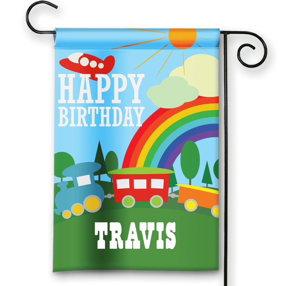Sgf 00058 Personalized Boys Train Transportation Theme Blue Happy Birthday Party Flag Banner By Front
