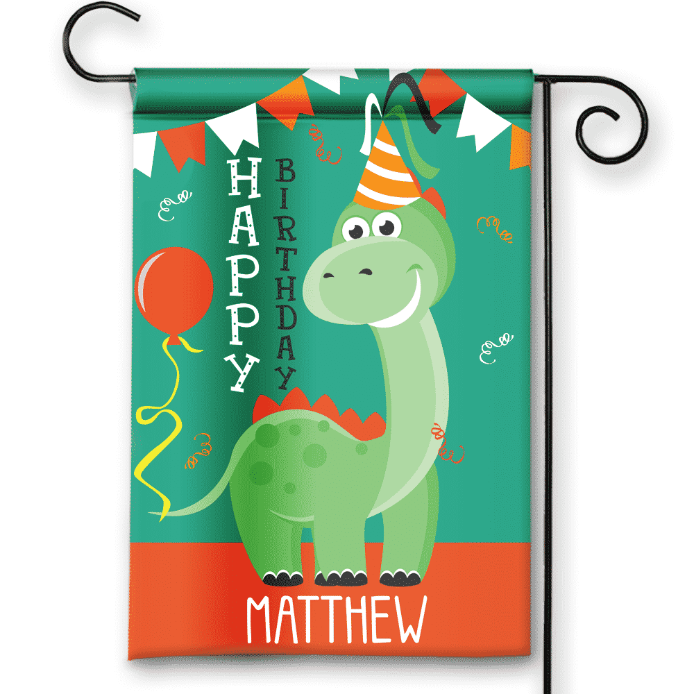 Little Dinosaur Happy Birthday Personalized Party Banner Garden Flag
