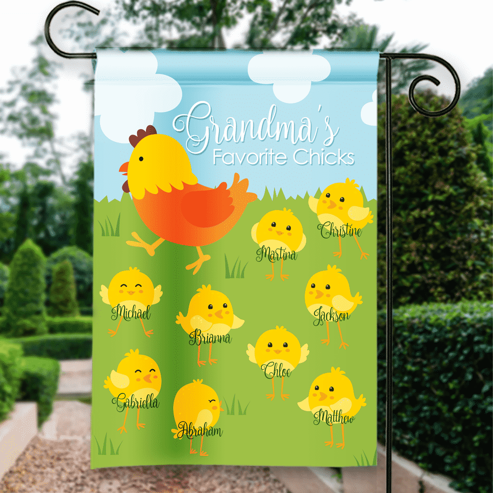 Grandma S Favorite Spring Chicks Personalized Easter Holiday Garden Flag